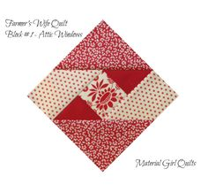 Farmer's Wife Quilt {the start of a new obsession} – Material Girl Quilts attic windows Farmers wife quilt blocks in red and white If you've been around the quil In our Quilting for Beginners Lesson, Jennie Rayment shows us how to cut strips, cut sq Quilting Blogs, Patchwork Quilting, Quilting Projects, Quilting Designs, Quilt Block Patterns, Pattern Blocks, Quilt Blocks, Farmers Wife Quilt, Red And White Quilts