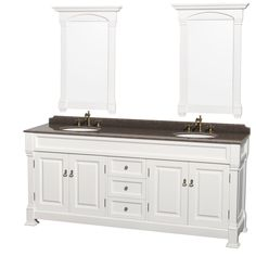 Wyndham Collection Andover Imperial Brown Granite Top Undermount Oval Sinks 80-inch Double Vanity with 28-inch Mirrors