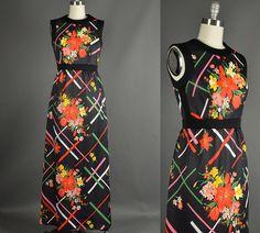 Vintage 1960s Dress 60s Dress maxi floral by NodtoModvintage, $61.00
