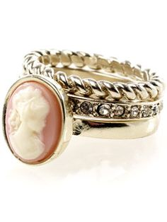 accessorize vintage cameo stacking ring x3 £8