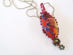 Red Handmade Pendant/Long Fiber Necklace /Long Textile Pendant Necklace/OOAK Pendant/Unique Red Jewelry/Statement Fabric Pendant Necklace by BudBeVud on Etsy