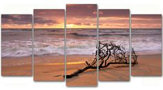 #Cuadro #paisaje puesta de #sol en la #playa, lienzo 5 piezas,150x80cm