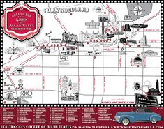 The Garden of Allah Novels companion map of Los Angeles and Hollywood Los Angeles Hollywood, Hollywood Party, Vintage Hollywood, Garden Of Allah, Los Angeles Map, Hollywood Forever Cemetery, Ambassador Hotel, Santa Monica Blvd, San Vicente