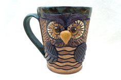 Hey, I found this really awesome Etsy listing at https://www.etsy.com/listing/222646538/whimsical-owl-mug-hand-built-hand-carved