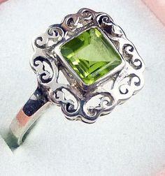 Sterling Silver Peridot Gemstone Ring