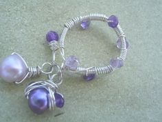 Amethyst Dangle Ring by KottageKreations on Etsy, $18.00