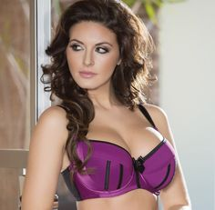 7d80f1501620f Parfait Charlotte 6901 Purple Wine Black Padded Balconnet Push Up Bra