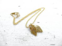 Gold Leaf Anklet - Small Cute Charms - Autumn Jewelry by evekuuskART, $12.50