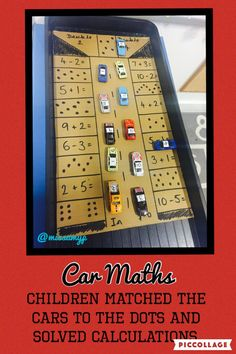 Car Maths Numbers on the top of the cars to match to the parking spaces. Children choose their level of challenge from counting spots to solving calculations. Year 1 Maths, Early Years Maths, Early Math, Early Learning, Subtraction Activities, Eyfs Activities, Nursery Activities, Numeracy, Maths Eyfs