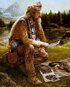 Rendezvous- yearly trade fair held in the Rocky Mountains to which fur trappers brought their catch of furs. These were the only contact with society for many mountain men Le Castor, Westerns, Mountain Man Rendezvous, Fur Trade, West Art, American Frontier, Cowboy Art, Cowboys And Indians, Le Far West