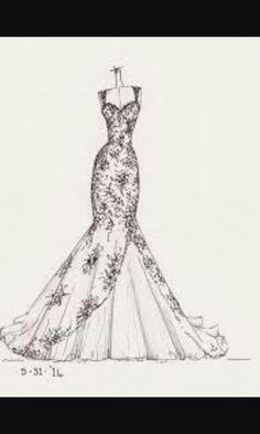 Dibujo de un vestido de novia