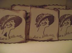 Note Cards  Distress  Look  Handstamped by mslizz on Etsy, $5.00