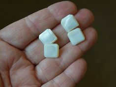 Mother of Pearl Square Beveled Edge White Cuff Links by belleofnewyork315 on Etsy