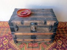 Old Primitive Wood Wooden Steamer Trunk Antique Vintage Coffee Table With All…