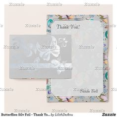 Butterflies Silv Foil - Thank You Monogram Note #2 Foil Card