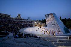 set design for medea and edipo a colono, greek theatre, siracusa, italy, 2009