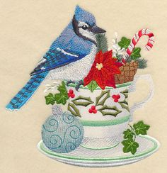 Blue Jay and Christmas Tea design (M6671) from www.Emblibrary.com