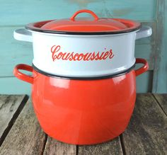 Vintage French Red Enamel Couscous Steamer by shabbyfrenchvintage