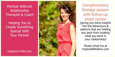 Would you like to create something special in your relationship but don't know where to start? Book your complimentary coaching and therpay session wiht me, Michele Willmott, to find out what is getting in your way!