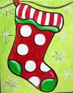 Christmas Stocking Christmas Canvas Art Christmas Art