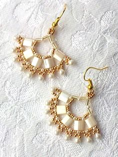 Cream gold tile beadwork fan shape drop earrings