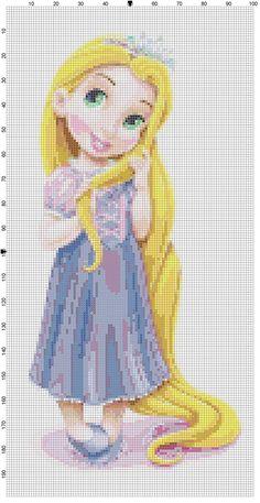 Mini Rapunzel cross stitch pattern PDF by Bluegiantstitch on Etsy, Disney Cross Stitch Patterns, Cross Stitch For Kids, Cross Stitch Baby, Cross Stitch Charts, Cross Stitch Designs, Beaded Cross Stitch, Crochet Cross, Cross Stitch Embroidery, Stitch Disney
