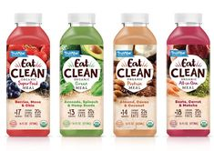 Truvibe Eat Clean on Packaging of the World - Creative Package Design Gallery Yogurt Packaging, Juice Packaging, Beverage Packaging, Bottle Packaging, Bottle Mockup, Clean Recipes, Organic Recipes, Clean Drink, Organic Cleaning Products