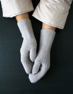 Seed Stitch Mittens and Hand Warmers