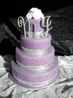 Purple & Silver Wedding Cake by Buttercup Cakes