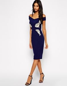 Little Mistress Off Shoulder Pencil Dress with 3D Floral Applique