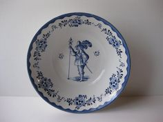 Vintage Johnson Bros Blue and White Holland Round by thechinagirl