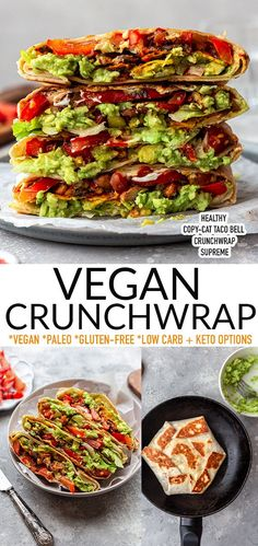 ThisVeganCrunchwrapRecipeis a delicious twist on the popular Taco Bell Crunchwrap Supreme. It's easy to make with a vegan taco filling layered with red peppers, lettuce, pico de gallo and guacamole. This hearty copy-cat taco wrap is vegan, gluten-free, paleo, dairy-free, grain-free with low-carb keto options. Healthy comfort food for your next taco night! Best Vegetarian Recipes, Best Breakfast Recipes, Veggie Recipes, Easy Dinner Recipes, Easy Meals, Paleo Recipes, Skinny Recipes, Vegetarian Meals, Weeknight Meals