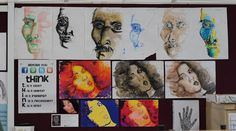 A wall in our classroom....expressionistic mixed media portrait examples for yr 8.