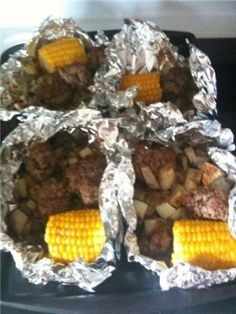 hobo dinners.. Like the idea but def would change the seasonings and make up of the meatballs