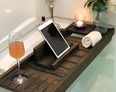 Bath Tray with Wine Holder, Bath Caddy, Bath Tray with IPad Holder, Wooden Bathtray, Bathtub Tray, Bath Tub Tray,