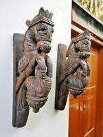 Elephant Wall Corbel Pair Handcarved Wooden Bracket Sculpture Estate Home Decor