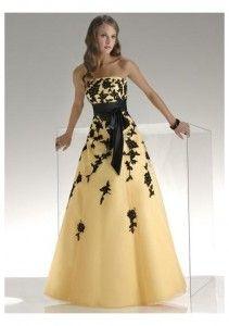 Black And Yellow Bridesmaids Dress