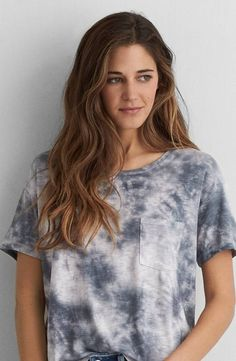 AEO Soft and Sexy Sky High T-Shirt by American Eagle Outfitters | Our signature Soft and Sexy jersey is designed to drape flawlessly in an array of essential silhouettes. Shop the AEO Soft and Sexy Sky High T-Shirt and check out more at AE.com.