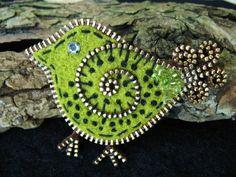 Little green bird brooch. | Flickr - Photo Sharing!