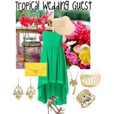 """Tropical Wedding Guest"" by evesaddiction on Polyvore #tropicalwedding #weddingjewelry"
