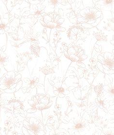 Pink flowers wallpaper m) - girlsroom Kids Wallpaper, Bathroom Wallpaper, Flower Wallpaper, Wall Wallpaper, Pattern Wallpaper, Beautiful Wallpaper, Easy Up, Baby Nursery Decor, Botany