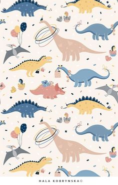 Super cute vector patterns for kids with Dino's Birthday Party. Patterns for kids beddroom - kawaii dinosaurs! - Pattern collection including 8 unique vector patterns with cute dinosaurs and 8 cards with differen -