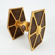 The TIE Fighter box is complete! by - Made from Hard Maple, Black Walnut and Curly Maple for a Star Wars themed art exhibit. It's dimensions are x x May the Force be with you! Handmade Wooden Toys, Wooden Crafts, Diy And Crafts, Star Wars Stencil, Star Wars Art, Toy Art, Woodworking Toys, Woodworking Projects, Wooden Tie