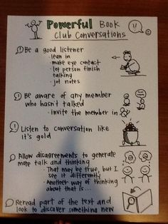 Anchor Chart for Powerful Book club convos shared by Mary Ehrenworth
