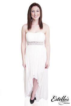 Decode - 182483 A white high low chiffon dress with rhinestone details around the waist at Estelle's Dressy Dresses! #estellesdressydresses