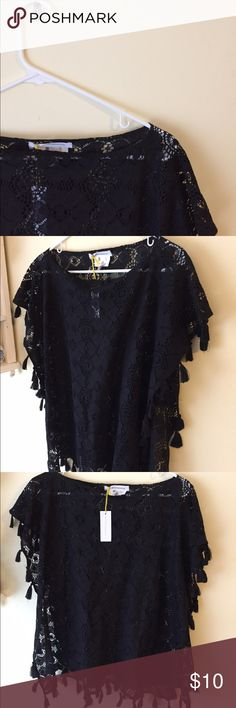 BCBG Black Lace Poncho This elegant, yet fun black lace poncho would be a great layering piece over a colored long sleeve shirt. 85% cotton and 15% nylon. BCBGeneration Accessories Scarves & Wraps