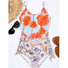 Wholesale Palm Trees Flower Print Lace-up Swimsuit S Colormix Online. Cheap Flower Print Dress And Lace Up Bathing Suit on Rosewholesale.com