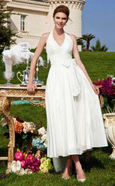 A-line Halter Tea-length Taffeta Wedding Dress  - great neckline