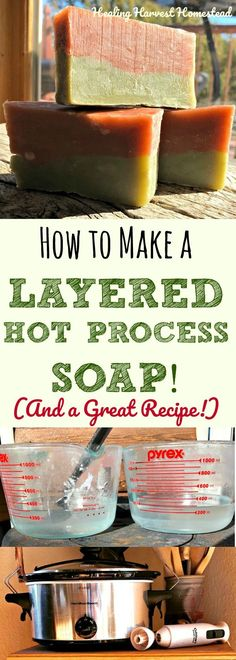I am on a quest to make hot process soap look more like cold process soap! Yes! Here is a brand new recipe, along with directions how to layer two colors in hot process soap. Beautiful! Easy instructions for layering hot process soap using either one crock pot or two! #HowtoLookHot
