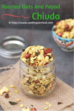 This Roasted Oats Papad Chivda is a healthy and quick evening snack recipe. Oats Papad chivda is a vegan recipe which has oats and papad, Nuts, spices and some herbs. Light Evening Snacks, Evening Snacks Indian, Healthy Evening Snacks, Healthy Indian Snacks, Healthy Kids, Vegetarian Sandwich Recipes, Snack Recipes, Cooking Recipes, Oats Recipes